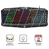 Gaming Keyboard, UtechSmart Saturn Marquee Features Colorful Backlit USB Multimedia Gaming Keyboard