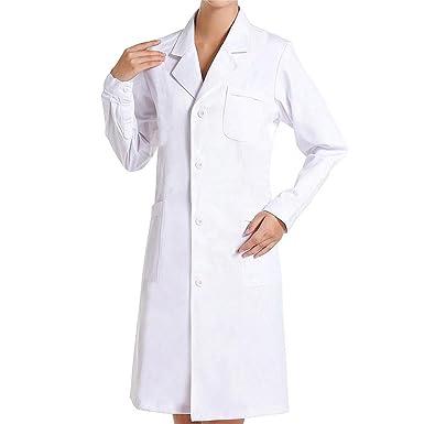 SiyaTom Bata Médico Laboratorio Enfermera Sanitaria de Trabajo Blanca de Manga Larga Unisex: Amazon.es: Ropa y accesorios