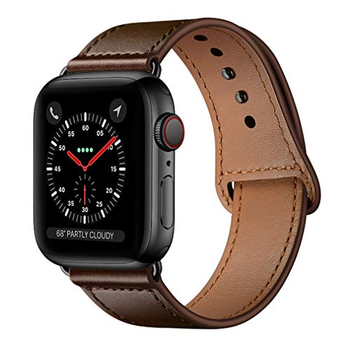 KYISGOS Compatible with iWatch Band 44mm 42mm, Genuine Leather Replacement Band Strap Compatible with Apple Watch Series 5 4 3 2 1 42mm 44mm, Dark Brown