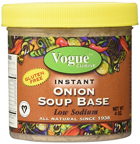 Vogue Cuisine Onion Soup & Seasoning Base 4oz - Low Sodium, Gluten Free, All Natural - Organic French Soup