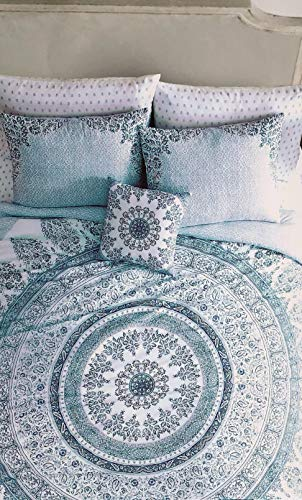 Artistic Accents Duvet Comforter Cover Set, King Size Bed Luxury 3 Piece Intricate Circle Tapestry Boho Medallion Pattern Shades of Turquoise Aqua Blue/Green on White, Home Bedding - Taj