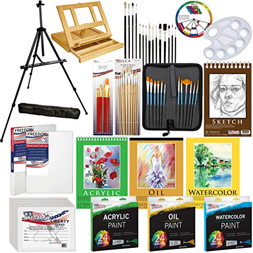 US Art Supply 133pc Deluxe Artist Painting Set with Aluminum and Wood Easels, Paint and -