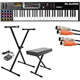 M-Audio Code 61 Black | 61-Key USB MIDI Keyboard Controller with X/Y Touch Pad (16 Drum Pads / 9 Faders / 8 Encoders) + Keyboard Stand/Bench Pak with Sustain Pedal + Dual MIDI Cable - Top Value Kit!!
