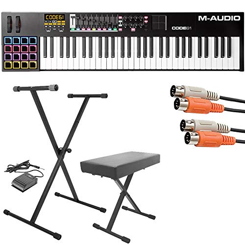 M-Audio Code 61 Black | 61-Key USB MIDI Keyboard Controller with X/Y Touch Pad (16 Drum Pads / 9 Faders / 8 Encoders) + Keyboard Stand/Bench Pak with Sustain Pedal + Dual MIDI Cable – Top Value Kit!!
