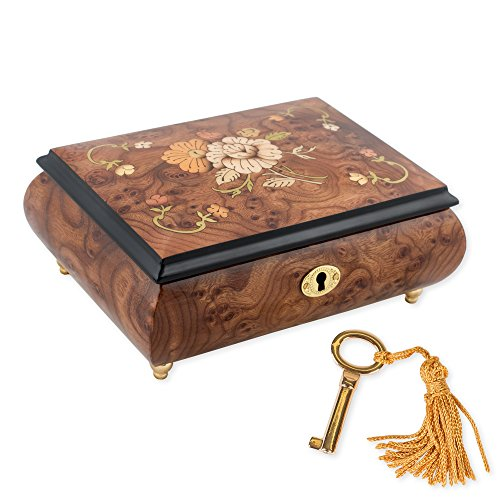 Floral Italian Hand Crafted Inlaid Wood Jewelry Music Box Plays Cantana 147 - Inlaid Wood Top