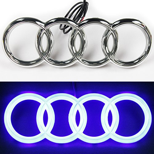 JetStyle 2018 UPGRADED Audi A3 A4 A5 A6 LED Emblem, Front Car Grill Badge, Auto Illuminated Logo, Glowing Rings, Lights DRL Daytime Running Lights Blue - Drive Brighter