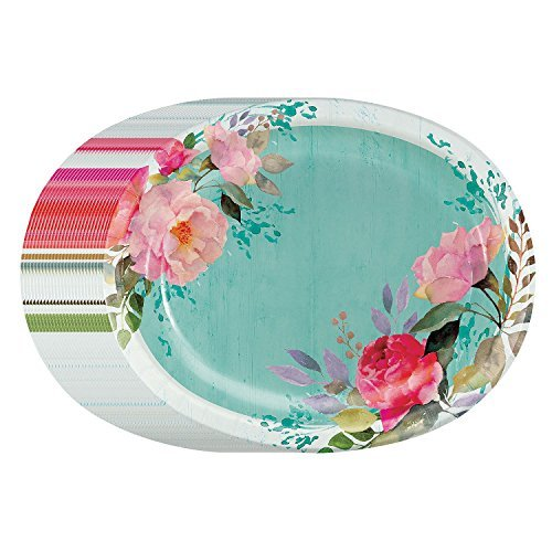Performa Rustic Beauty Spring/Summer Paper Disposable Plates Heavy Duty in Large Bonus Pack (Oval 50 ct)