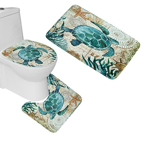 (Amagical Sea World Sea Turtle Print 3 Piece Bathroom Mat Set Bath Mat Contour Mat Toilet Cover)