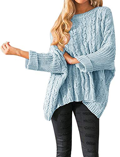 Womens Oversized Sweaters Plus Size Bell Sleeves Cable Knit Chunky Pullover Sweater Jumper Tops