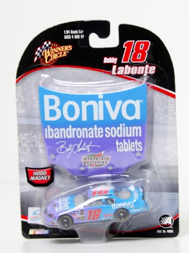 NASCAR, #18 Bobby Labonte, Boniva, Hood Magnet 1:64 Scale Stock Car (Bobby Labonte Racing)