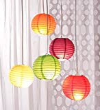 Anne -Kee Garden Hanging Paper Lantern Rice Paper Ball Lamp Shade For Diwali Wedding Party Decoration Hotels Home 5 Pcs - 12 Inch - Multi Color