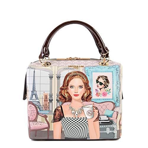 Nicole Lee Pink Pastel Fashion Print Women's Structured Handbag Shoulder Bag, Ara Loves morning Coffee, One Size