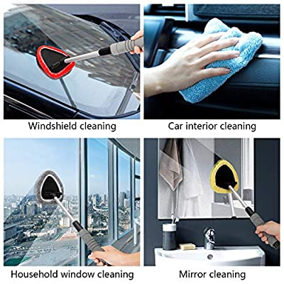 Gven 6 in 1 Windshield Cleaning Tool Microfiber Car Interior Window Cleaner with Extendable Aluminum Handle for Car & Home Glass Use w/Replacement AS SEEN ON TV: Automotive