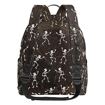 YZGO Halloween Dancing Skeletons School Backpack for Boys Girls Dia De Los Muertos Skull Bookbag Travel Bag | Kids' Backpacks