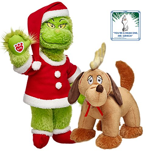 Build-A-Bear Grinch Musical in Santa Costume and Max Grinch's Dog Dr. Seuss Character Plush Set