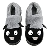 Couples Cartoon Sheep Warm Cotton Slippers Winter Cozy Plush Fleece Scuff Slippers Family Indoor Floor House Warmer Shoes Booties Mules Fuzzy Slippers Low-top Ankle (US men size 11.5-12.5, Grey')