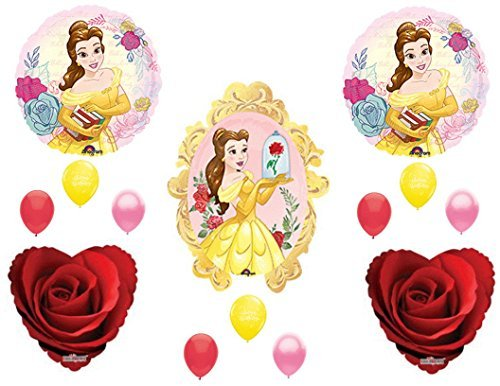 BEAUTY AND THE BEAST Red Rose Birthday Party Balloons Decoration Supplies Movie -