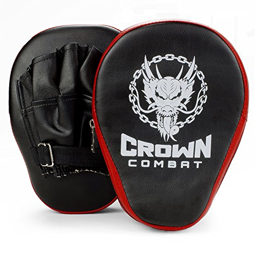 Curved PU Leather Punch Mitts, Pair of 2 by Crown Sporting Goods (Leather Punch Mitts)