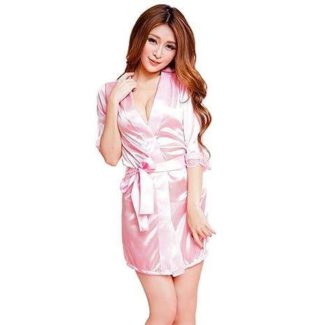 gaddrt Womens Pure Luxury – Albornoz Batas ropa ropa Sexy ropa de dormir Pijama, rosa