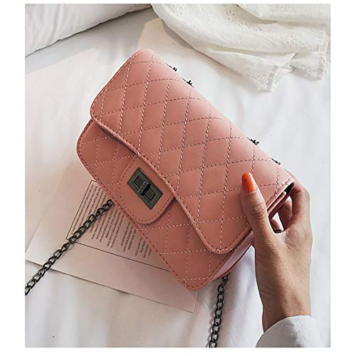 CLAIRE CC Women Fashion Shoulder Bag Jelly Clutch Handbag Quilted Crossbody Bag with Chain Pink