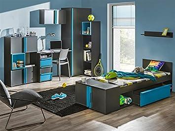 Smartbett Jugendzimmer Komplett Set Bico 02 8 Tlg Anthrazit Blau