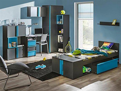 Jugendzimmer Komplett Set Bico 02 8 Tlg Anthrazit Blau Online Kaufen