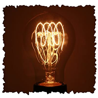 Vintage 40 watt 1920 Light Bulb, Nostalgic Quad Loop Filament, Medium Base, Victorian A19 Glass Shape