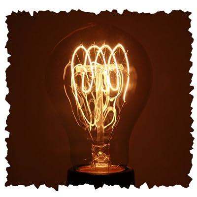 Vintage 40 watt 1920 Light Bulb, Nostalgic Quad Loop Filament, Medium Base, Victorian A19 Glass Shape
