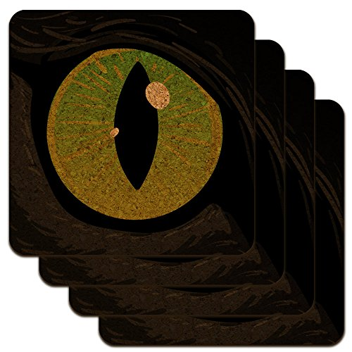 Cat Green Eye Low Profile Novelty Cork Coaster Set Cat Eye Bar End