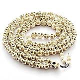 Big 10x13mm 108 Halloween Skull Beads Tibetan Buddhist Prayer Rosary Meditation Mala