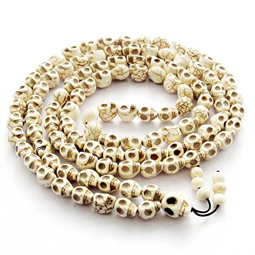 OVALBUY Big 10x13mm 108 Halloween Skull Beads Tibetan Buddhist Prayer Rosary Meditation ()