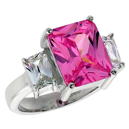Sterling Silver Pink Cubic Zirconia 3-Stone Engagement Ring 4 ct Emerald Cut center, size 6 - Emerald Cut Pink Tourmaline Ring