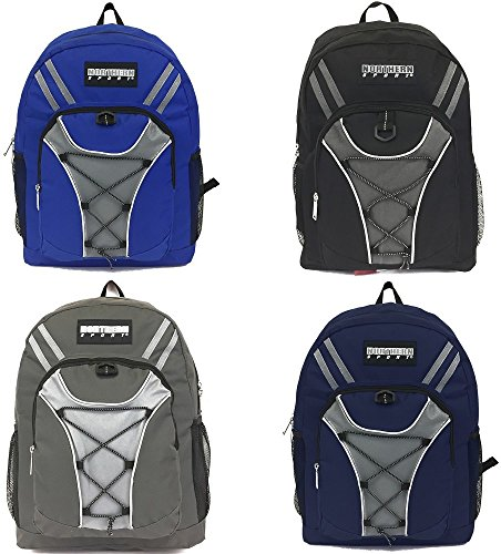Wholesale 19'' Bungee Design Backpack 4 Assorted Colors - Case of 24 by Northern Sport