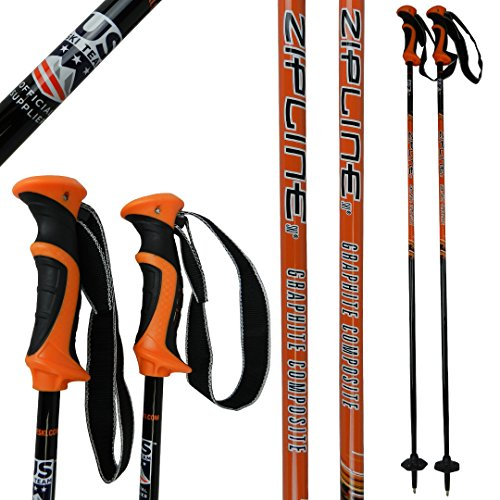 Ski Poles Graphite Carbon Composite - Zipline Lollipop U.S. Ski Team Official Supplier (Orange, 44' in./112 cm)