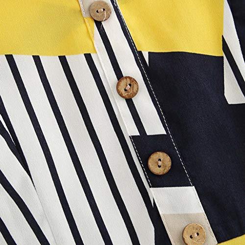 Coedfa Women's Bow Tie Back V Neck Button Splice Stripe Crop Cami Top Camisole Blouse Yellow by Coedfa (Image #4)