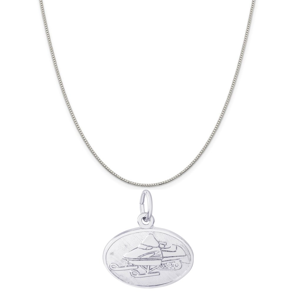 Rembrandt Charms Sterling Silver Snowmobile Oval Disc Charm on a 16 Box or Curb Chain Necklace 18 or 20 inch Rope