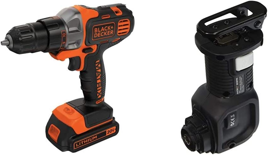 BLACK+DECKER 20V MAX Matrix Cordless Drill/Driver with Reciprocating Saw Accessory (BDCDMT120C & BDCMTRS)