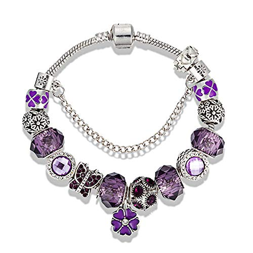 MUERDOU Mother Charms Bracelet for Girls and Women Murano Glass Beads Butterfly Flower Charms Amethyst Bracelets (Amethyst Flower Bracelet)