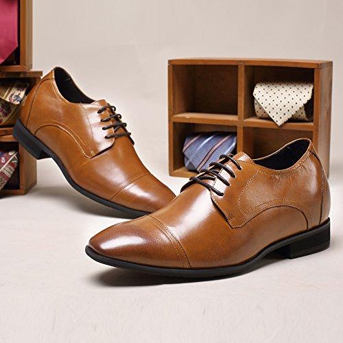 CHAMARIPA Zapatos Estilo Oxford Hombre pare ser 7 cm más alto, Marrón - D09K011