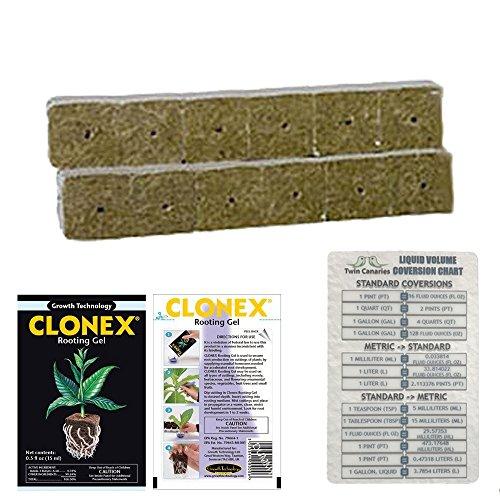 GRODAN DELTA MINI BLOCK STRIP ROCKWOOL STONEWOOL HYDROPONIC GROW MEDIA CUBE PLUG + CLONEX ROOTING GEL 15 ml & TWIN CANARIES CHART - 12 PIECES 2
