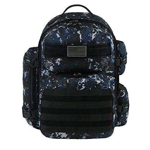 East West U.S.A RTC515 Tactical Molle Sport Military Assault Expandable Trekking Bag, Navy Camo