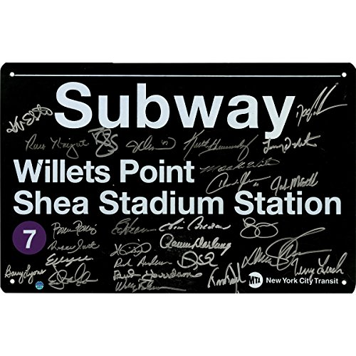1986 New York Mets Team Autographed Nyc Metal Subway Sign - 7 Train Shea Stadium Station/willets Point 27 Signaturesimperfect