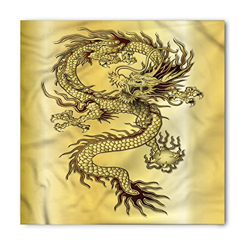 Necktie Background Black (Ambesonne Dragon Bandana, Chinese Snake Dragon Theme Background Eastern Mythology Oriental Abstract Art, Printed Unisex Bandana Head and Neck Tie Scarf Headband, 22 X 22 Inches, Mustard Black)