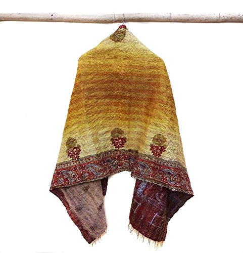 Silk Kantha Scarf Vintage Neck Wrap Stole Dupatta Hand Quilted Women Gypsy