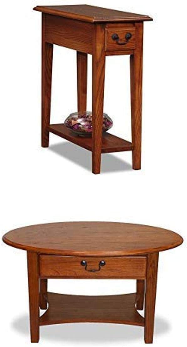 Leick Solid Wood Side End Table and Oval Coffee Table - Storage Drawers - Solid Wood - Hand Applied Rustic Oak Finish