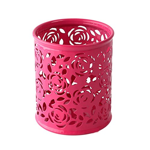 Leoy88 Hollow Pen Holder Makeup Brush Vase Roses Brush Pot Storage (Red)