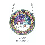 HF-209 Tiffany Style Stained Church Art Glass Pastoral Decorative Snowman Round Window Hanging Glass Panel Suncatcher, 15''H15''W