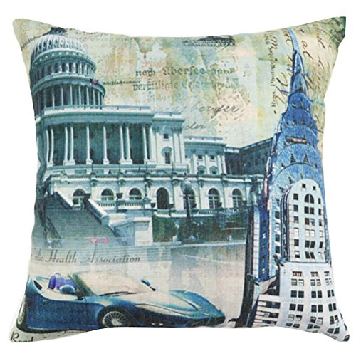 Square Ancient Architecture Printed Stuffed Cushion ChezMax Cotton Stuffing Throw Pillow Insert For Drawing Room Sofa Couch Chair Back Seat price