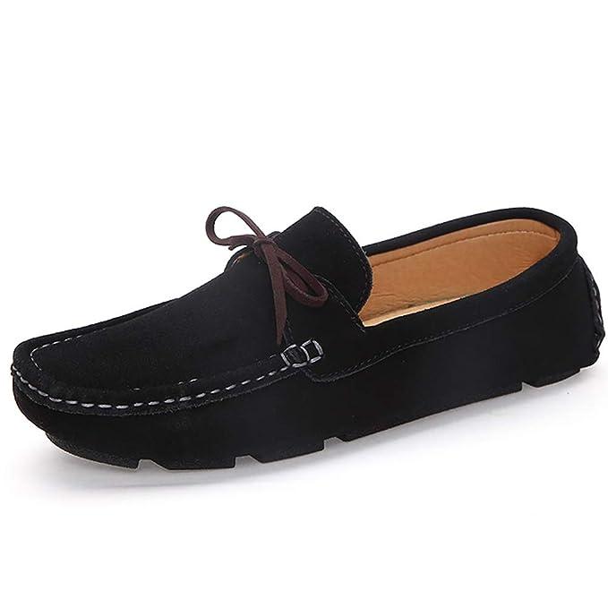 FHTD Calzado formal para hombre Gamuza casual Mocasines y zapatillas sin cordones Calzado de conducción,Black,38: Amazon.es: Ropa y accesorios
