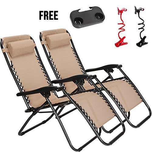Idealchoiceproduct 2 Pack Tan Color Zero Gravity Outdoor Lounge Chairs Patio Adjustable Folding Reclining Chairs With Free Cup Drink Utility Tray   Cell Phone Holder